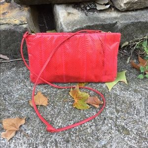 Vintage Red Reptile Snake Skin Crossbody Clutch